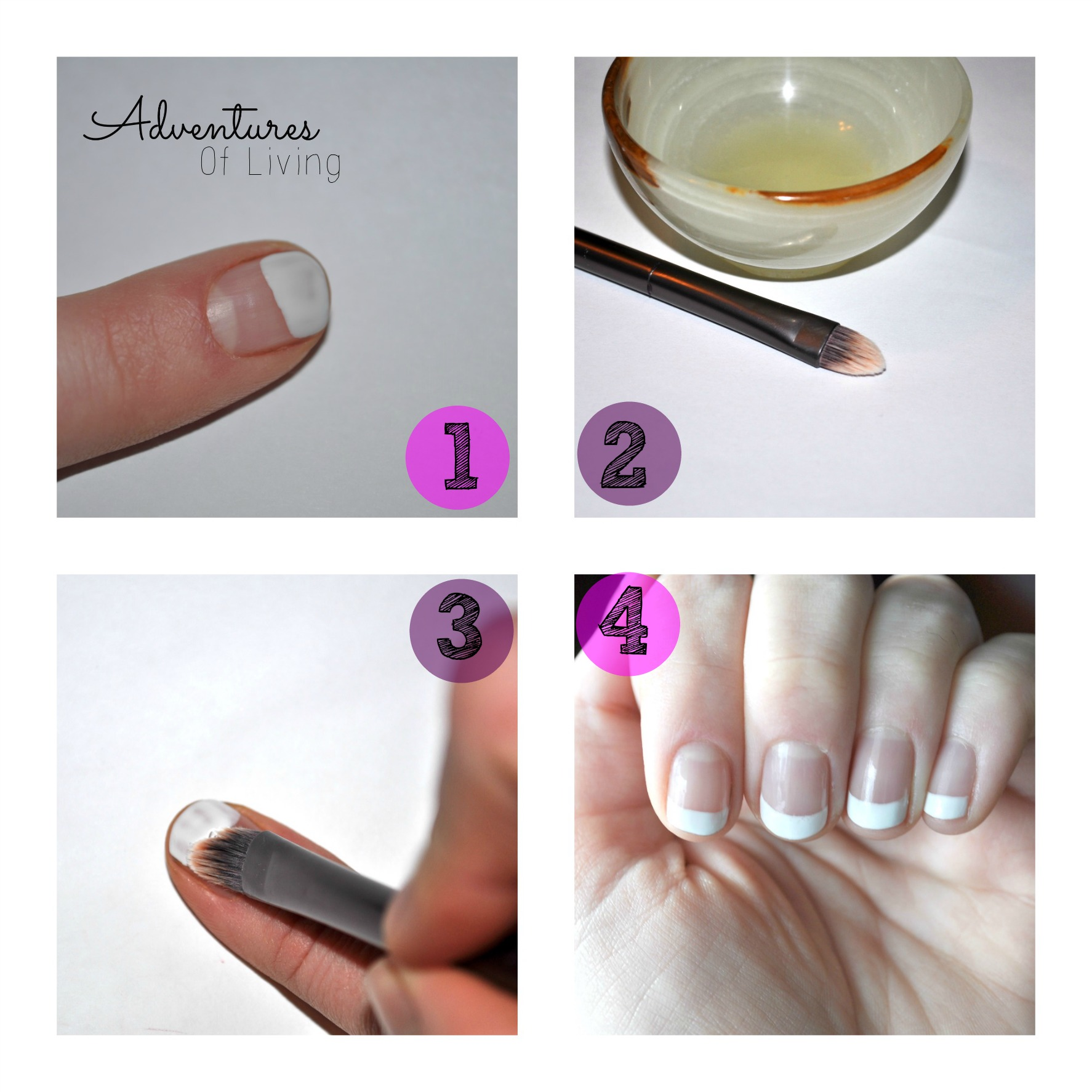 Steps for gel french manicure